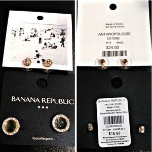 Earrings 2 Pairs Anthropologie and Banana Republic